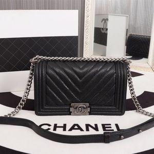 Chanel-Le-Boy Medium Black Chevron Caviar Bag